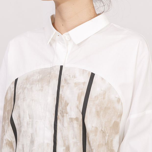 Single Breasted Printed Split Women Shirt