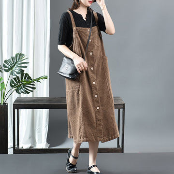 Single Breasted Pure Color Suspender Dress