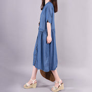 Single Breasted Spliced Pure Color Denim Dress