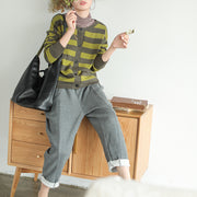 Single Breasted Stripe Casual Sweater Coat