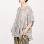 Single Breasted Stripes Casual Loose T-Shirt