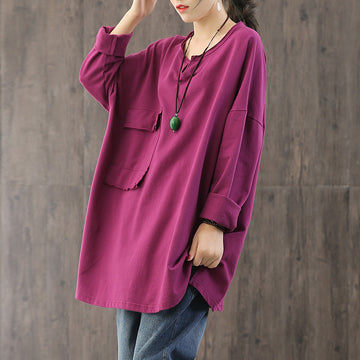 Single Pocket Solid Color Long Blouse