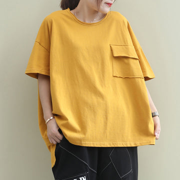 Slant Hem Pure Color Casual O-neck T-shirt