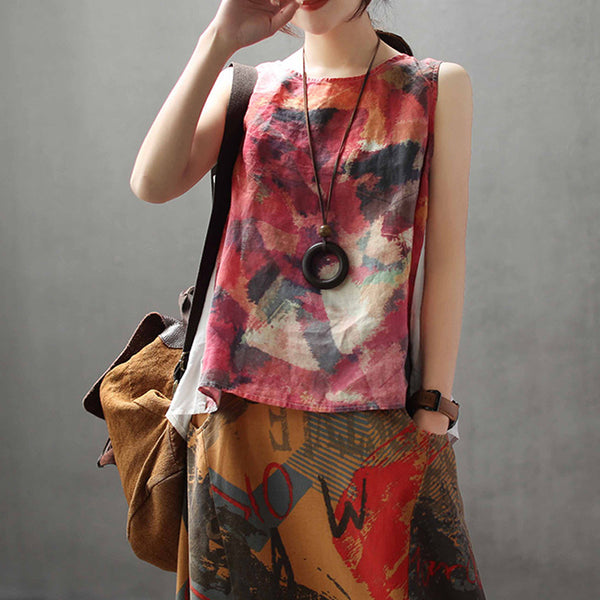 Sleeveless Linen Printed Summer Casual Top