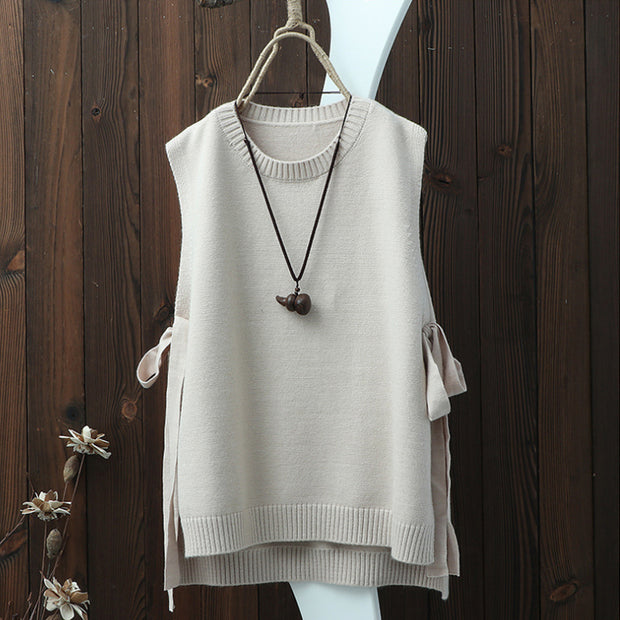 Sleeveless O-neck Bow High-low Hem Sweater