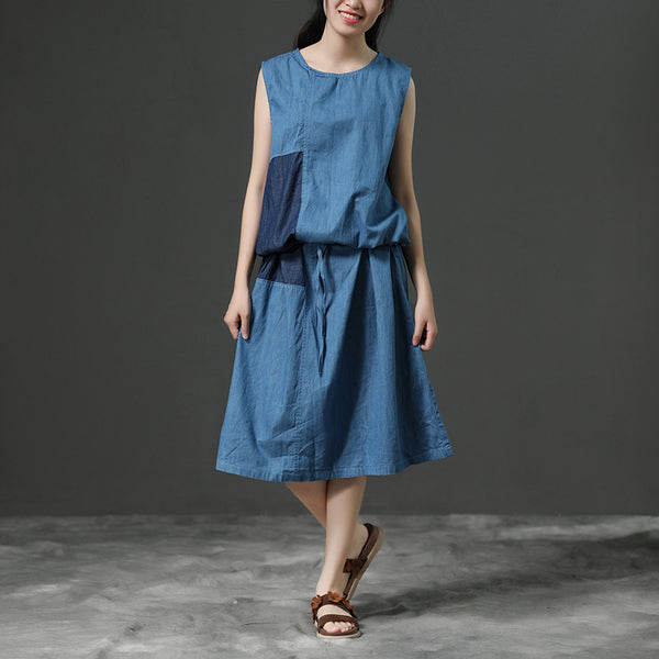 Sleeveless Summer Blue Commuter Cotton Dress