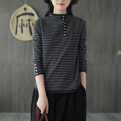 Slim Autumn Casual Stripes T-shirt For Women