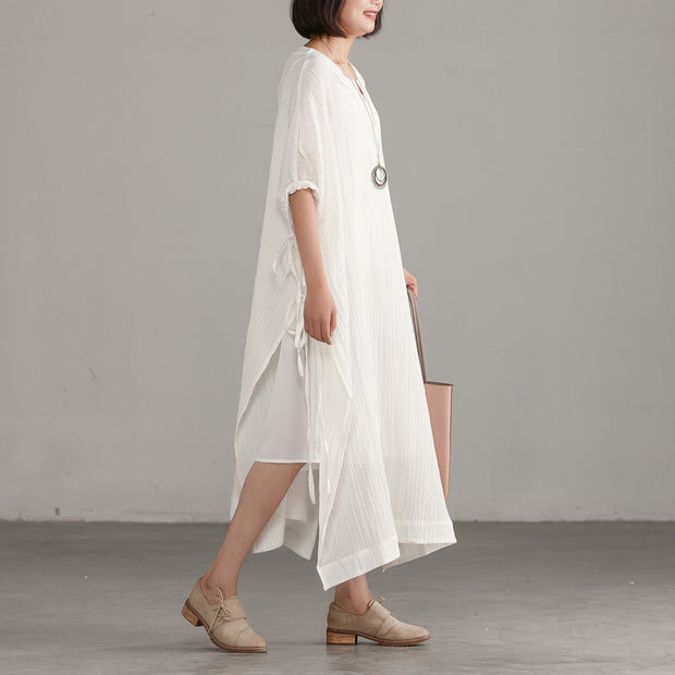 Slit Jacquard Loose Lacing White Dress