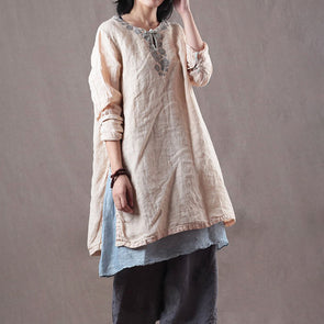 Slit Linen Solid Loose Embroidery Women Casual Top