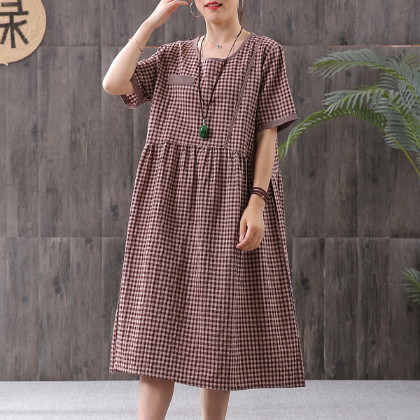 Small Plaid Cotton Linen Pleated Casual Dress