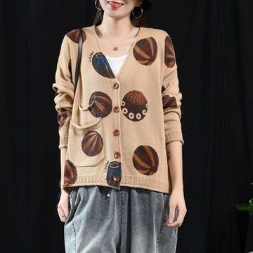 Soft Comfortable Printed Casual Knit Coat