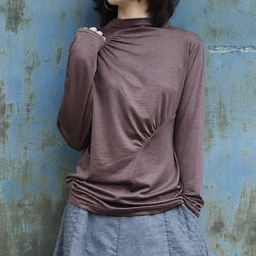 Soft Comfortable Pure Color Pleated Bottoming Shirt