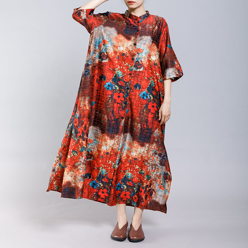Soft Elegant Floral Printed Split Dress