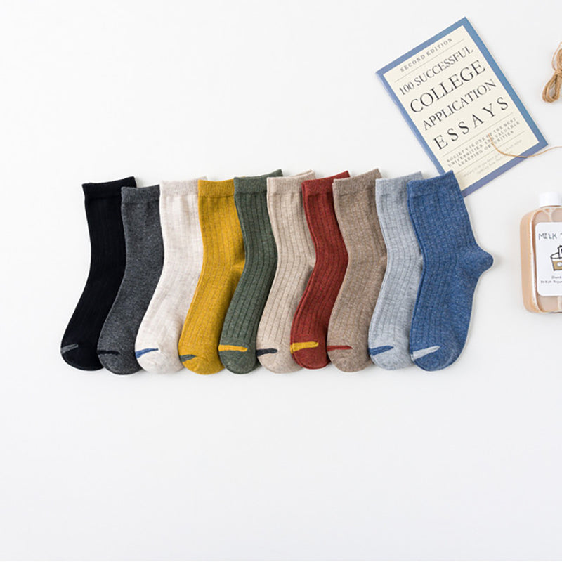 Solid Color Cotton Casual Socks - 5 Pairs