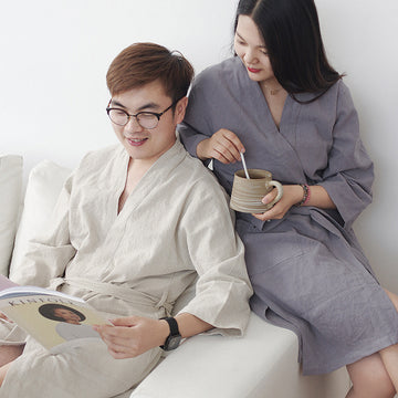 Solid Color Cotton Linen Robe For Men and Women