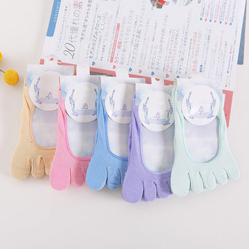 Solid Color Cotton Open Back Toe Socks For Women (3 pairs)