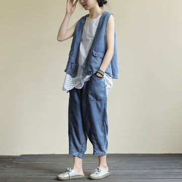 Solid Color Denim Three-piece Set (Vest,Tank and Jeans)