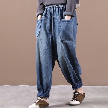 Solid Color Elastic Waist Jeans Denim Pants