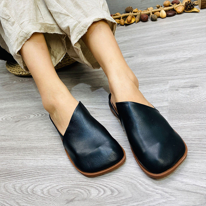 Solid Color Flat Leather Slippers With Irregular Upper