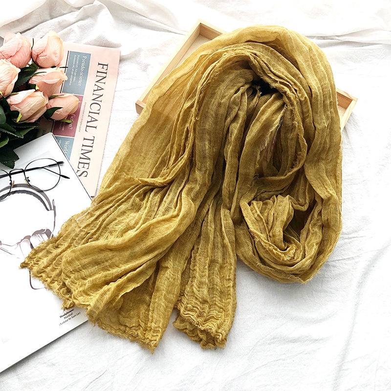 Solid Color Natural Burr Pleated Linen Scarf