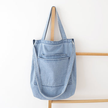Solid Color Patch Pocket Denim Shoulder Bag