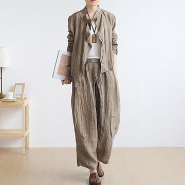 Solid Color Pleated Coat Casual Pants(Single Piece Sale)