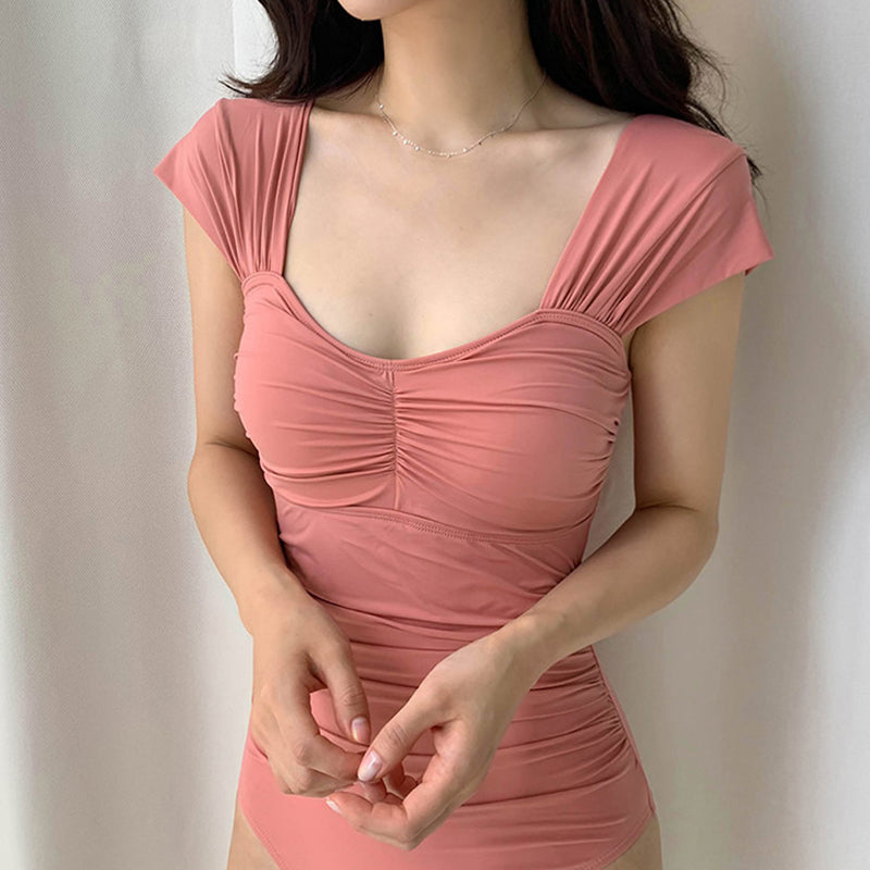 Solid Color Pleated One Piece Swimsuit