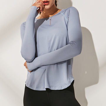 Solid Color Polyester Sports Long Sleeve T-shirt