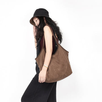 Solid Color Retro Suede Shoulder Bag