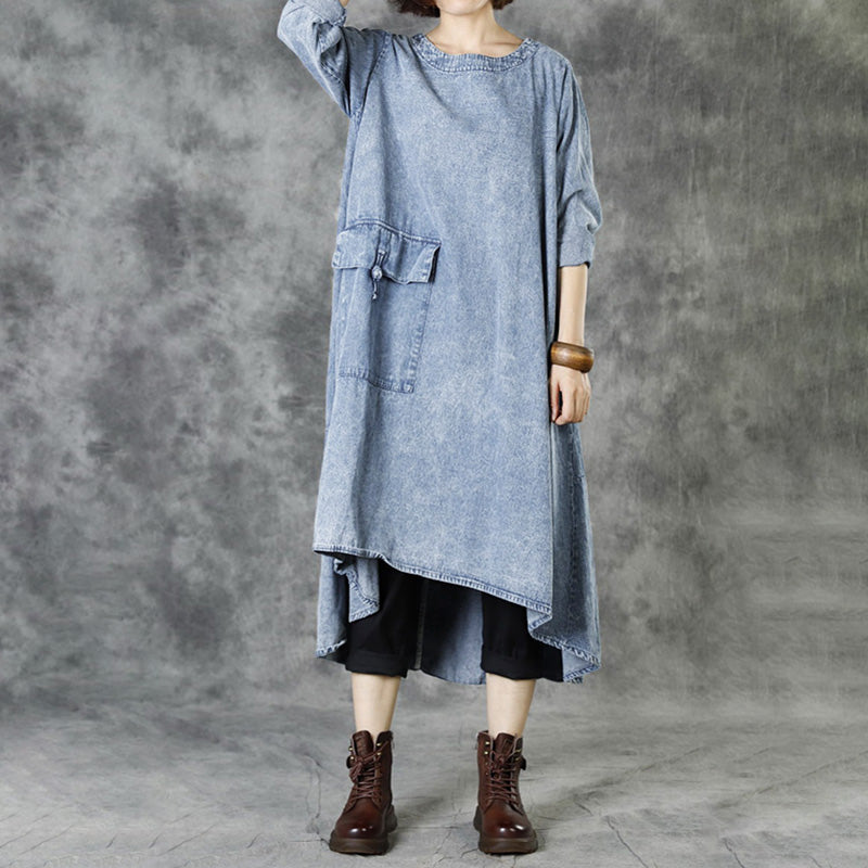 Solid Color Single Pocket Loose Denim Dress