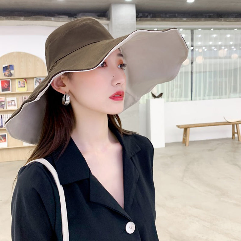Solid Color Sunscreen Cotton Double-sided Bucket Hat