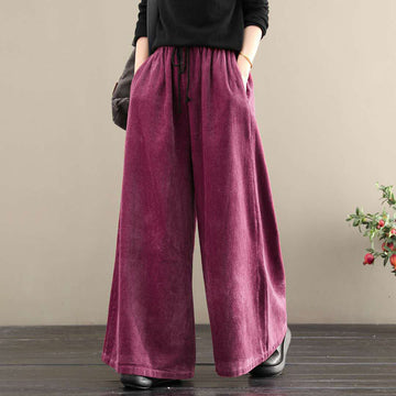 Solid Color Thick Elastic Waist Corduroy Pants