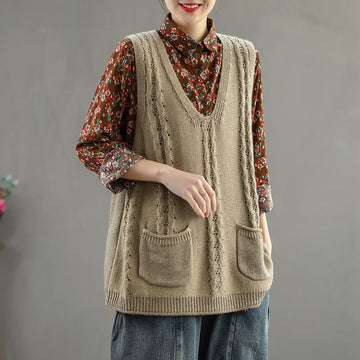 Solid Color V-neck Thread Hollow Loose Pocket Sweater