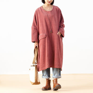 Solid Baggy Women Plus Size Corduroy Dress