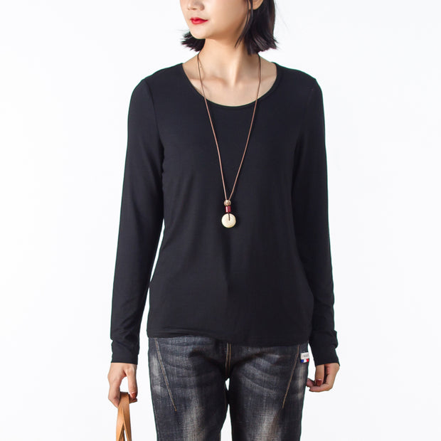 Solid Black Long Sleeve Women Basic T-shirt