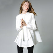 Solid Cascading Ruffle Plus Size Shirt