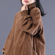 Solid Coffee Turtleneck Long Loose Dress