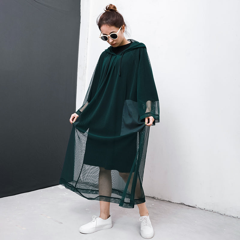 Solid Color Big Pockets Drawstring Dress