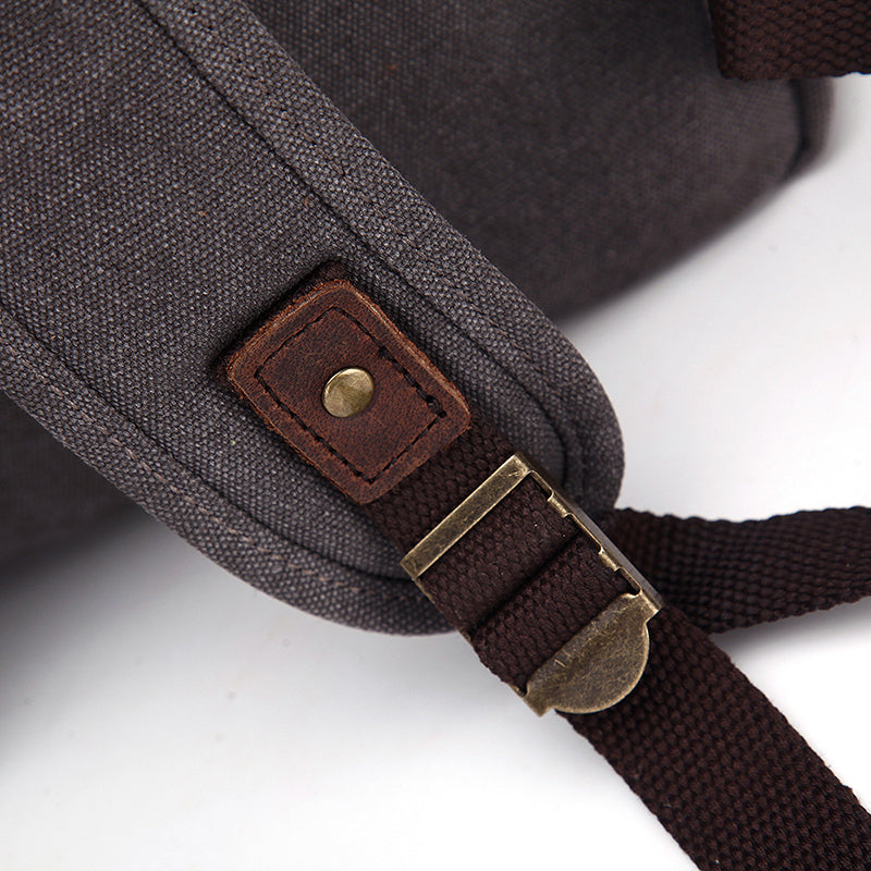 Solid Color Canvas Retro Backpack For Women
