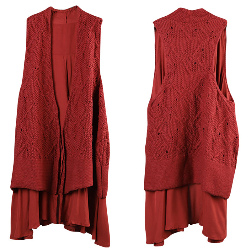Solid Color Double Layer Knit Waistcoat