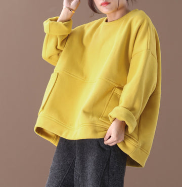 Solid Color Double Pockets Thick Warm Sweatshirt