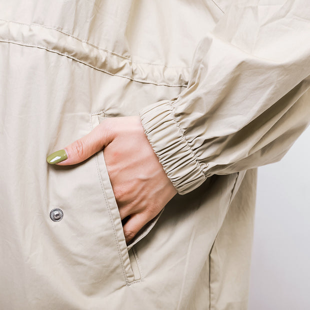 Solid Color Drawstring Pockets Trench Coat