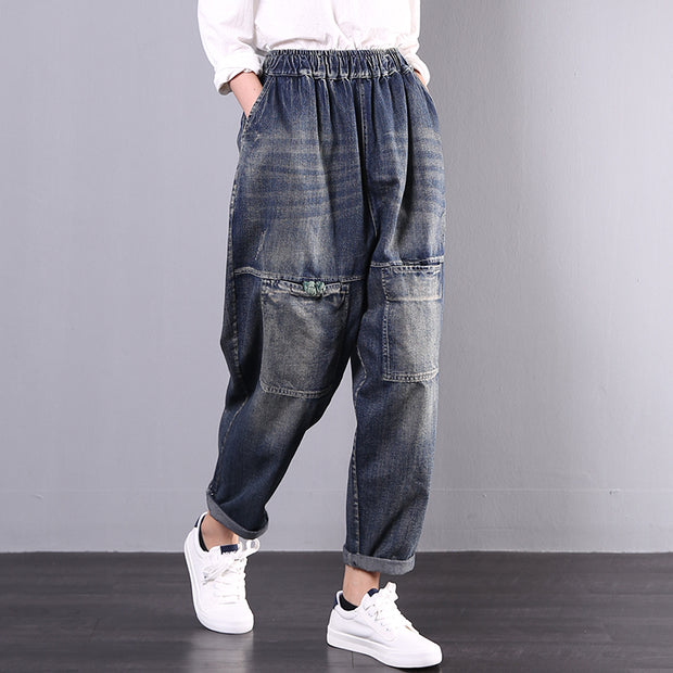 Solid Color Frayed Frog Casual Jeans