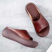Solid Color Handmade Leather Women's Slippers