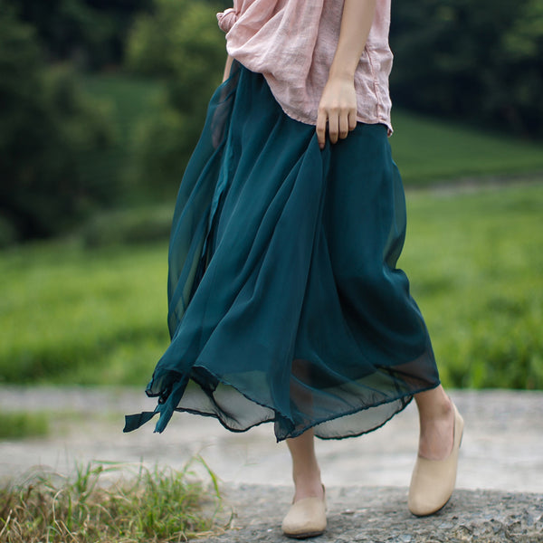 Solid Color High Waist Pleated Lacing Skirt