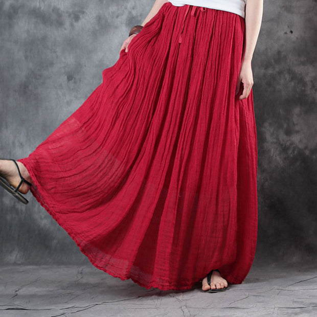 Solid Color Lacing Casual Pleated Skirt