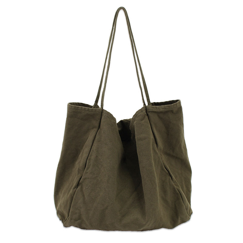 5c44d6fbef1 Solid Color Large Capacity Canvas Bag - BUYKUD