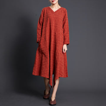 Solid Color Long Sleeve Cotton Linen Dress