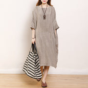 Solid Color Loose Round Neck Linen Dress
