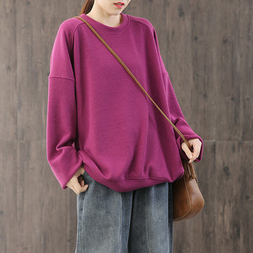 Pure Color Loose 100% Cotton Comfy Sweatshirt